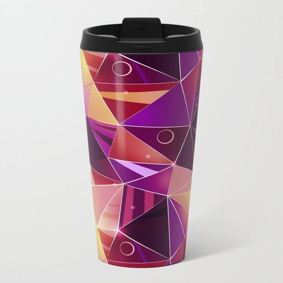 Polygonal pattern.Black, red, yellow, orange background. Metal Travel Mug