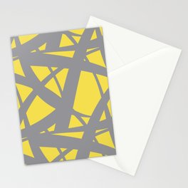 Abstract Mosaic Web Pattern 3 Pantone 2021 Color Of The Year Illuminating and Ultimate Gray Stationery Cards