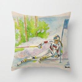 Lindsey Vonn_ Ski Racer Throw Pillow