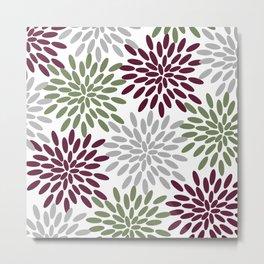 Floral Petals in Sage Green, Wine Red and Grey Metal Print