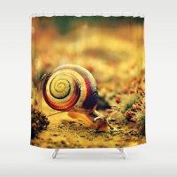 snail Shower Curtains featuring Snail by Alexandra Baker