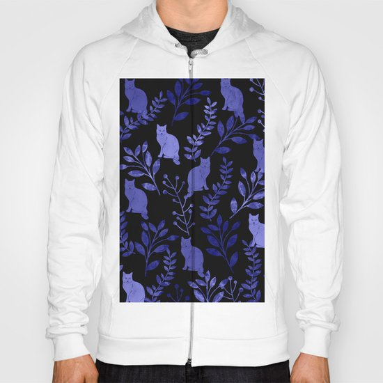 Watercolor Floral and Cat Hoody