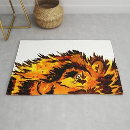 Watercolor Male Lion Half Face Rug