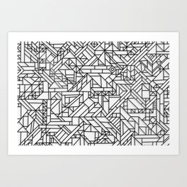 GEOMETRIC BLACK AND WHITE OUTLINES SHAPES MINIMAL MINIMALIST DIGITAL PATTERN Art Print