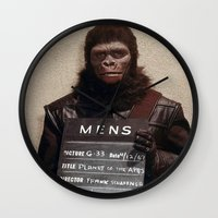 planet of the apes Wall Clocks featuring Planet of the Apes  by Rotton Cotton Candy