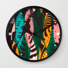 Vintage Tropical Leaf Pattern Wall Clock