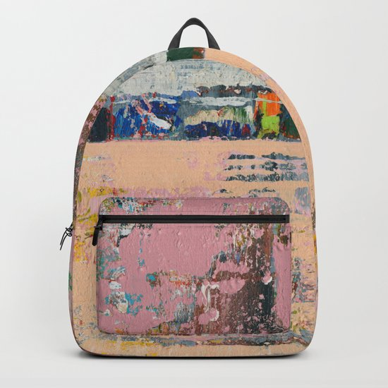 Dogbane Pink Abstract Painting Print Backpack