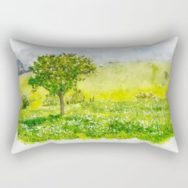 Aquarelle sketch art. Beautiful spring landscape with tree on foreground in Tuscany countryside, Italy Rectangular Pillow