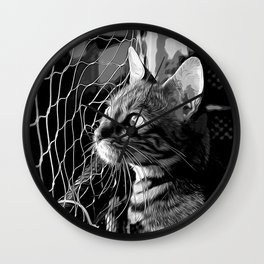 bengal cat yearns for freedom vector art black white Wall Clock