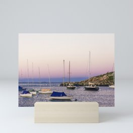 Earth's shadow over the harbor Mini Art Print