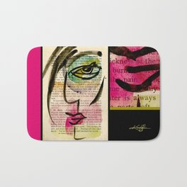 """Funky Face Abstract, """"I See 24"""" by Kathy morton Stanion Bath Mat"""