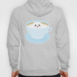 Cute Kawai cat in blue cup Hoody
