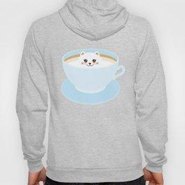 Cute Kawai cat in blue cup Hoody