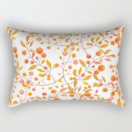 Hand painted orange gold fall berries floral Rectangular Pillow