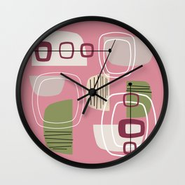 Pink Mid Century Modern Wall Clock