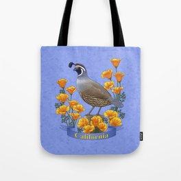 California State Bird Quail and Golden Poppy Tote Bag