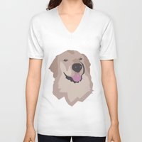 golden retriever V-neck T-shirts featuring Tyson the Golden Retriever by BulanLifestyle