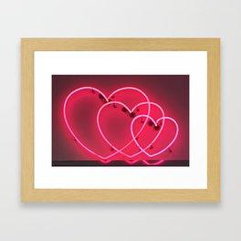 Neon Hearts Framed Art Print