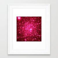 glitter Framed Art Prints featuring Hot Pink Glitter Stars by 2sweet4words Designs