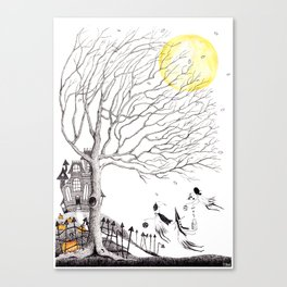 Harvest Moon Night - Illustration by: Taren S. Black Canvas Print
