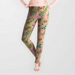 Watercolor Leaves pattern - pink background Leggings