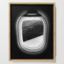 Window Seat // Scenic Mountain View from Airplane Wing // Snowcapped Landscape Photography Serving Tray