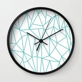 Geometric Cobweb (Teal & White Pattern) Wall Clock