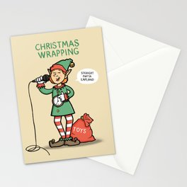 Christmas Wrapping - Funny Xmas Cartoon - Festive Elf Illustration Stationery Cards
