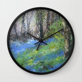Bluebells English Woodland Landscape Acrylics On Canvas Wall Clock