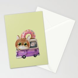 Cute cat driving a donut truck, well a van in fact Stationery Cards