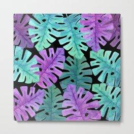 Monstera Turquoise Violet Metal Print