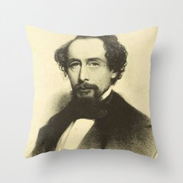 Vintage Charles Dickens Portrait Throw Pillow