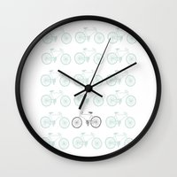 bikes Wall Clocks featuring bikes by siobhaniaa