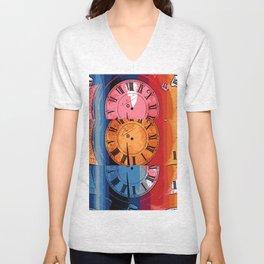 Tri Clocks Unisex V-Neck