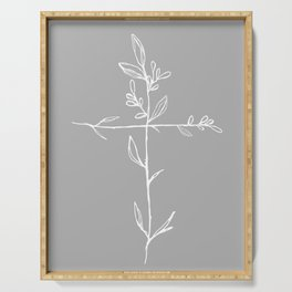 Twig Cross, A Simple Floral White Cross Serving Tray