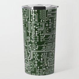 Circuit Board // Green & Silver Travel Mug