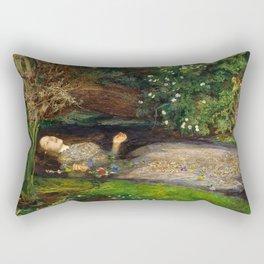 Ophelia Painting by John Everett Millais Rectangular Pillow
