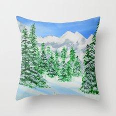 Winter on the mountain Throw Pillow