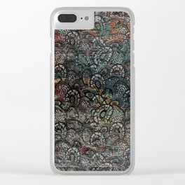 Burned Color  Paisley Pattern on  Wood Clear iPhone Case