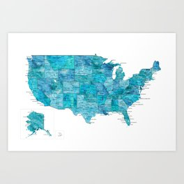 "Teal watercolor map of the USA with cities, ""Norvin"" Art Print"