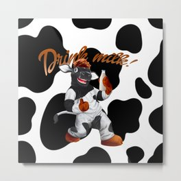 Do Cows Drink Milk Cow With Milk Bottle Metal Print