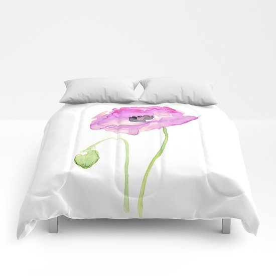Flower Purple Poppy Floral Watercolor Comforters