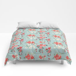 Ditsy Pink and White Floral Pattern Comforters