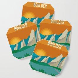 Boulder, Colorado - Skyline Illustration by Loose Petals Coaster