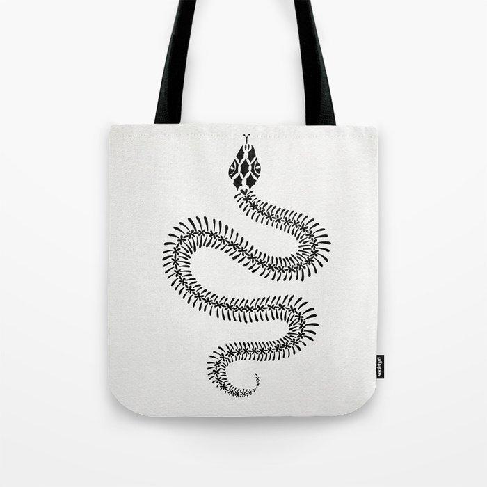 Snake Skeleton – Black Ink Tote Bag