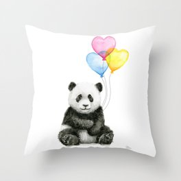 Panda Baby with Heart-Shaped Balloons Whimsical Animals Nursery Decor Throw Pillow