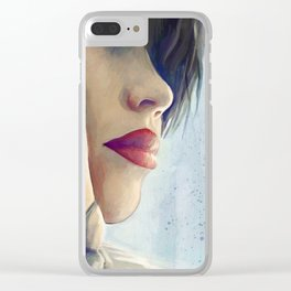 Beautiful Woman Lost In Thought Clear iPhone Case