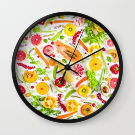 Fruits and vegetables pattern (31) Wall Clock
