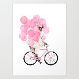 Riding Llama with Pink Balloons #1 Art Print