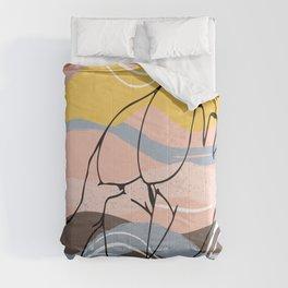 The Waves Of Sex, Erotic Lovers Art, Minimalist Sex Illustration, Modern Sex Pose Line Drawing Comforters